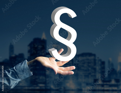 Justice and law symbol displayed on a futuristic interface - Technology and business concept