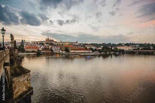 prague town czech republic bridge Poster