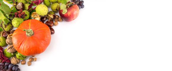 Pumpkin with hazelnuts, chestnuts and walnuts