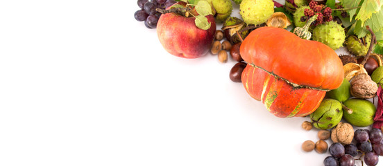 Autumn fruit and vegetables on a pile