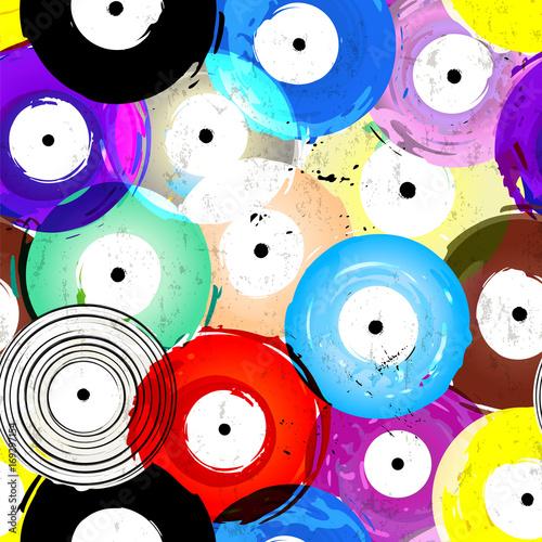 Fotobehang Abstract met Penseelstreken seamless vinyl records background pattern, vector illustration