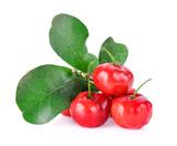 Barbados cherry on white background