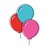 balloons icon over white background vector illustration - 169298576