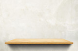 Empty wood board shelf at concrete wall background,Mock up for display or montage of product or design - 169300390