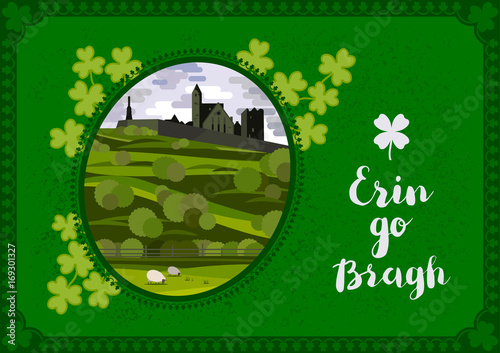 Fotobehang Groene Vector greeting card. Irish landscape with Cashel Castle, clover leaves and lettering quote.