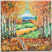 """Постер, картина, фотообои """"colourful painting of outhum forest with yellow trees"""""""