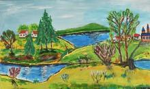 "Постер, картина, фотообои ""colourful painting of little village and lake"""