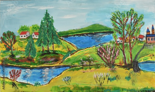 colourful painting of little village and lake