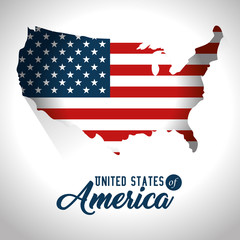 Flag and map of United States of America theme Vector illustration