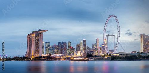 Panorama skyline of Singapore Marina Bay,Singapore city light twilight time Poster