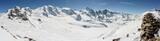 Panorama of the famous Bernina group including Piz Palü and Piz Bernina