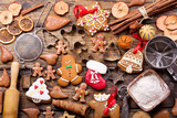Christmas gingerbread cookies with ingredients for cooking - 169313980