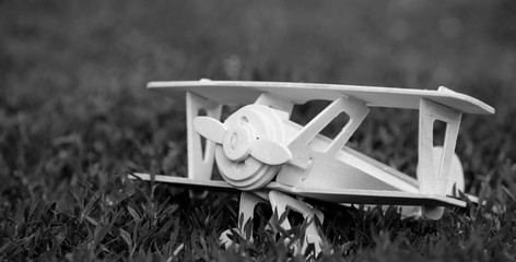 Wooden plane toy on grass