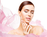 Woman Beauty Makeup, Face Skin Care Natural Make Up, Beautiful Model Touching Neck Chin, eyes closed