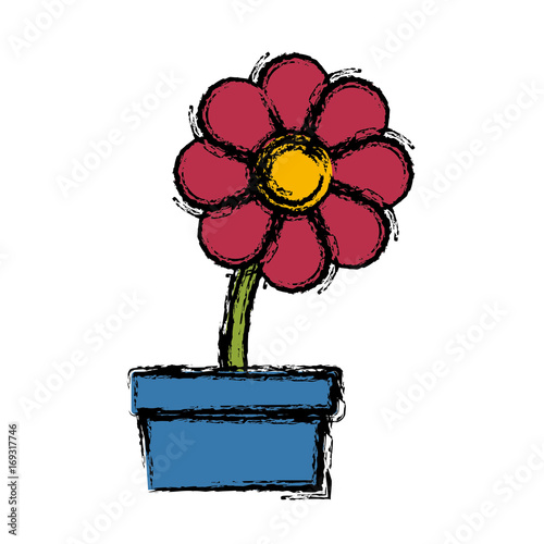 potted flower natural flora decoration ornament vector illustration