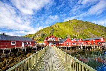 Norwegian red houses rorbu in Ballstad, Lofoten Islands, Norway