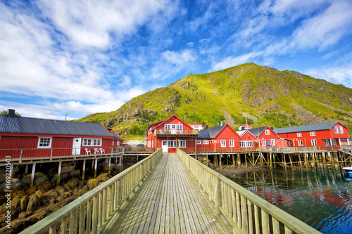 Norwegian red houses rorbu in Ballstad, Lofoten Islands, Norway