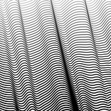 Abstract isolated black and white wavy stripes vector background. 3d optical illusion waves