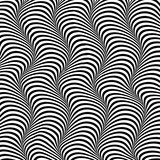 Abstract isolated black and white waved stripes vector background. 3d optical illusion