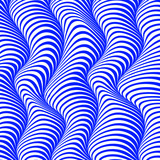 Abstract isolated blue and white waved stripes vector background. 3d optical illusion effect