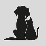 Cat and dog on a gray background