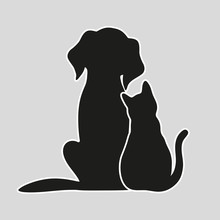 Cat And Dog On A Gray  Sticker