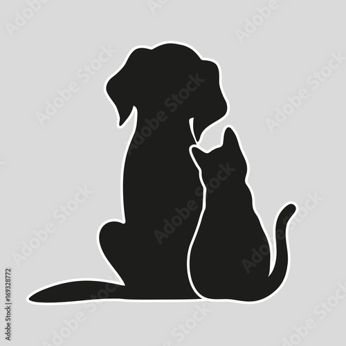 Fototapeta Cat and dog on a gray background