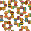 Ethnic motifs patchwork pattern with flowers made of hexagonal patches