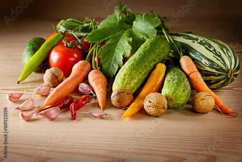Vegetables on table. Poster