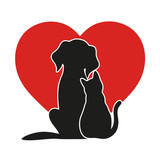 Heart On The  Of A Cat And A Dog Wall Sticker
