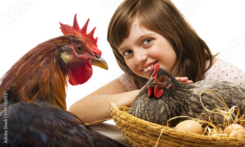 Foto op Canvas Kip little girl with a hen and a rooster - concept bio eggs