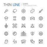 Video game genres thin ine icons - 169339779