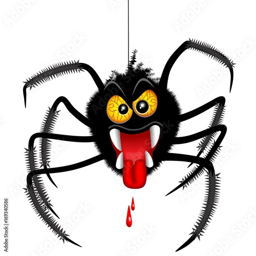 Poster Draw Halloween Spider Spooky Cartoon Character