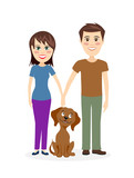 Cheerful couple with dog vector illustration. - 169340741