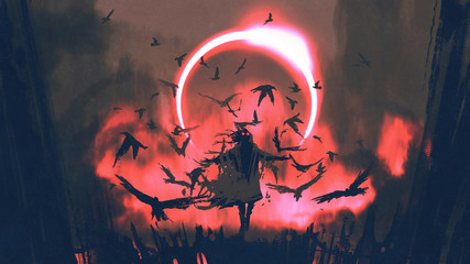 wizard of crows casting a spell in the mysterious field with solar eclipse, digital art style, illustration painting © grandfailure