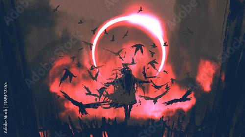 mago-de-cuervos-que-hechiza-en-el-misterioso-campo-con-eclipse-solar-estilo-de-arte-digital-pintura-ilustrativa