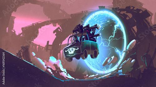 concepto-de-ciencia-ficcion-del-camion-de-pistola-conduce-a-traves-del-tunel-futurista-estilo-de-arte-digital-pintura-de-ilustracion
