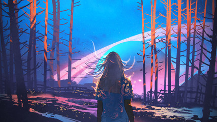woman standing alone in forest with fictional planets background, digital art style, illustration painting © grandfailure