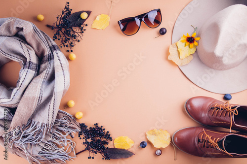 Autumn female outfit. Set of clothes, shoes and accessories