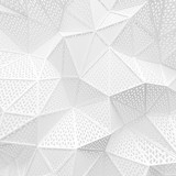 abstract white low poly background hole mesh triangle pattern 3d render. blank empty backdrop with copy space technology modern future business style concept.