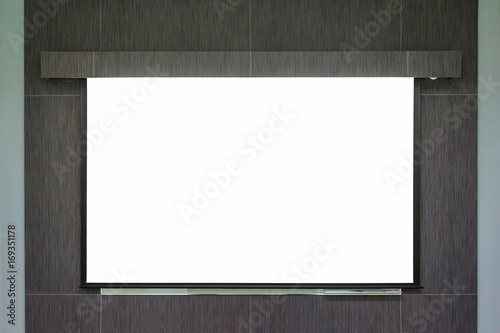 Background Of Blank Whiteboard Or Projection Screen In The Office Meeting Room