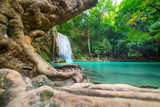 Waterfall beautiful (erawan waterfall) in kanchanaburi province asia southeast asia Thailand