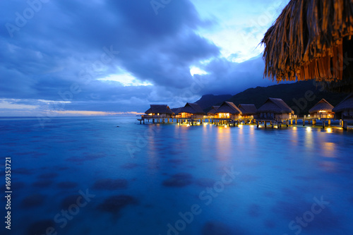 View from Overwater Bungalow at twilight, French Polynesia