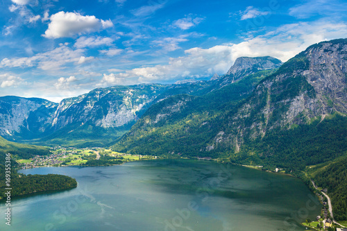 Aluminium Groen blauw Alps and lake Hallstatt, Austria
