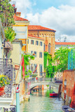 Views of the most beautiful channels of Venice, narrow streets, houses. - 169362116