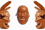 Front and twin side face of Traditional japanese theater masks made of spruce wood