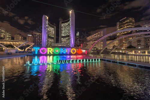 Fotobehang Toronto Toronto City Hall with colorful night in downtown Toronto, Ontario, Canada.