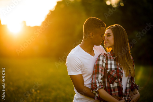 Romance in nature - young couple on date