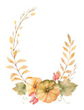 Watercolor vector autumn wreath of leaves, branches and pumpkins isolated on white background. - 169373347
