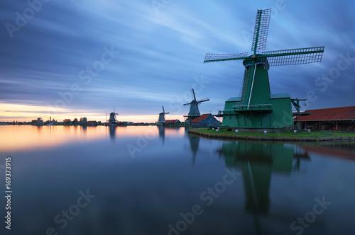 Foto op Plexiglas Amsterdam Landscape of Netherlands windmills at night